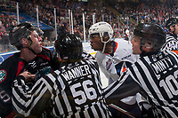 KELOWNA, CANADA - SEPTEMBER 22: Linesmen Cody Wanner and Dustin Minty intervene between Konrad Belcourt #5 of the Kelowna Rockets and Jermaine Loewen #32 of the Kamloops Blazers on September 22, 2017 at Prospera Place in Kelowna, British Columbia, Canada.  (Photo by Marissa Baecker/Shoot the Breeze)  *** Local Caption ***
