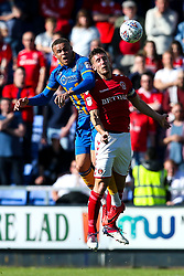 Carlton Morris of Shrewsbury Town challenges Jason Pearce of Charlton Athletic - Mandatory by-line: Robbie Stephenson/JMP - 13/05/2018 - FOOTBALL - Montgomery Waters Meadow - Shrewsbury, England - Shrewsbury Town v Charlton Athletic - Sky Bet League One Play-Off Semi Final