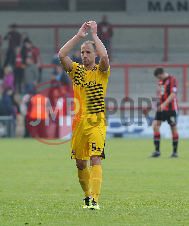 Mark McChrystal of Bristol Rovers applauds the fans - Mandatory byline: Neil Brookman/JMP - 07966 386802 - 03/10/2015 - FOOTBALL - Globe Arena - Morecambe, England - Morecambe FC v Bristol Rovers - Sky Bet League Two