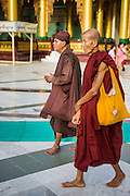 07 JUNE 2014 - YANGON, YANGON REGION, MYANMAR: A Burmese hermit monk and a regular monk walk around Shwedagon Pagoda. Shwedagon Pagoda is officially called Shwedagon Zedi Daw and is also known as the Great Dagon Pagoda and the Golden Pagoda. It's a 99 metres (325 ft) gilded pagoda and stupa located in Yangon. It is the most sacred Buddhist pagoda in Myanmar with relics of the past four Buddhas enshrined within: the staff of Kakusandha, the water filter of Koṇāgamana, a piece of the robe of Kassapa and eight strands of hair from Gautama, the historical Buddha.   PHOTO BY JACK KURTZ