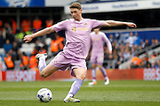 Reading midfielder George Evans (4) has a shot on goal during the Sky Bet Championship match between Queens Park Rangers and Reading at the Loftus Road Stadium, London, England on 23 April 2016. Photo by Andy Walter.