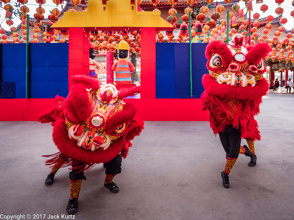 28 JANUARY 2017 - SAMUT PRAKAN, SAMUT PRAKAN, THAILAND: Lion dancers perform before the Chinese New Year Lantern Festival at the Tham Katanyu Foundation shrine in Samut Prakan, a suburb about 15 miles from Bangkok. More than 5,000 handmade lanterns imported from Taiwan are hung on the grounds of the shrine. Some of the lanterns are traditional Chinese lanterns, others are in the shapes of people or deities. There is also traditional Chinese entertainment, likes lion dances, at the festival.     PHOTO BY JACK KURTZ