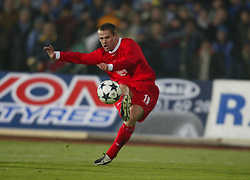 SOFIA, BULGARIA - Wednesday, March 3, 2004: Liverpool's Michael Owen scores the second goal against  Levski Sofia during the UEFA Cup 4th Round 2nd Leg match at the Vasil Levski Stadium. (Pic by David Rawcliffe/Propaganda)