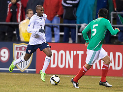 United States midfielder DaMarcus Beasley (7) takes on Mexico defender Ricardo Osorio (5). The United States men's soccer team defeated the Mexican national team 2-0 in CONCACAF final group qualifying for the 2010 World Cup at Columbus Crew Stadium in Columbus, Ohio on February 11, 2009.