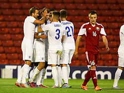 Ben Gibson of England celebrates after scoring the opening goal to make it 1-0 - Photo mandatory by-line: Matt McNulty/JMP - Mobile: 07966 386802 - 11/06/2015 - SPORT - Football - Barnsley - Oakwell Stadium - England U21 v Belarus U21 - International Friendly U21s