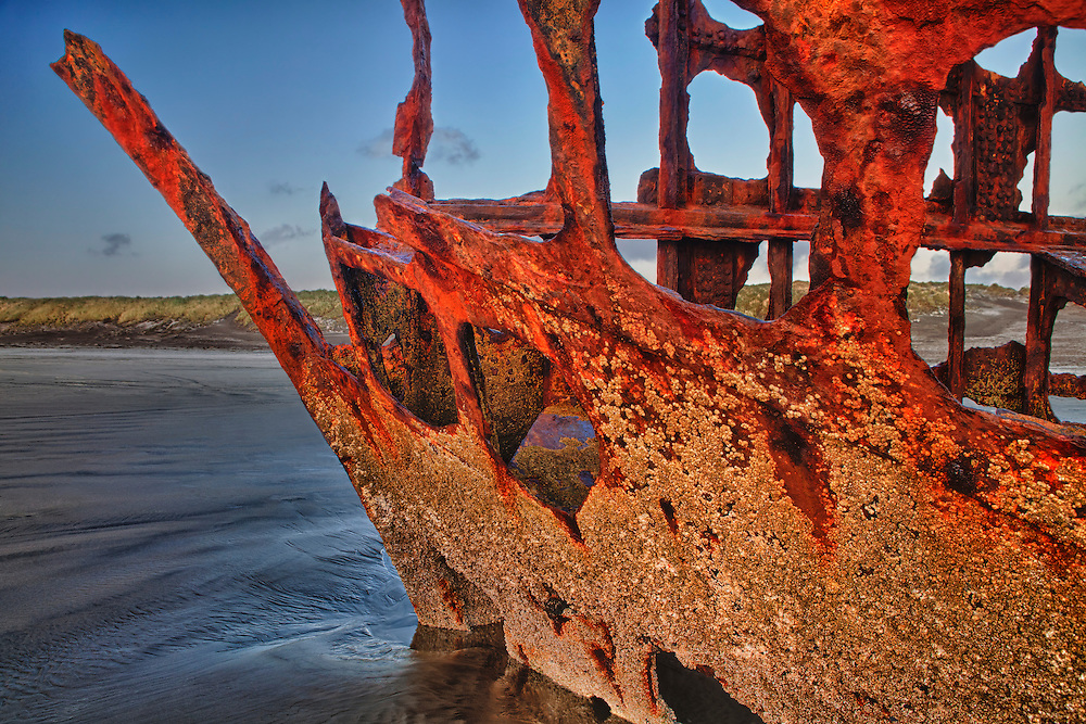 Peter Iredale Shipwreck Bow Close Detail - Sunset - Oregon Coast - HDR