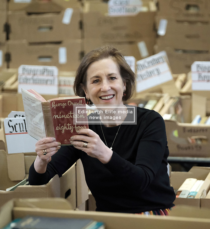 Journalist Kirsty Wark is photographed ahead of the Christian Aid week George Street book sale. Items on sale include first editions of George Orwell's 1984 and Animal Farm, a second edition of Walter Scott's Rob Roy and a signed first edition limited edition copy of TS Elliott's Dante. The sale will take place on Saturday. St Andrew's and St George's West Church, George Street, Edinburgh<br /> <br /> Pictured: Kirsty Wark<br /> <br /> Alex Todd | Edinburgh Elite media