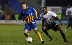 Nathan Thomas of Shrewsbury Town in action with Anthony Grant of Peterborough United - Mandatory by-line: Joe Dent/JMP - 24/04/2018 - FOOTBALL - Montgomery Waters Meadow - Shrewsbury, England - Shrewsbury Town v Peterborough United - Sky Bet League One