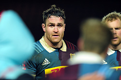James Horwill of Harlequins speaks to his team-mates - Mandatory byline: Patrick Khachfe/JMP - 07966 386802 - 03/02/2017 - RUGBY UNION - The Twickenham Stoop - London, England - Harlequins v Sale Sharks - Anglo-Welsh Cup.