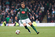 Plymouth Argyle Defender Gary Sawyer (3) in action during the EFL Sky Bet League 2 match between Grimsby Town FC and Plymouth Argyle at Blundell Park, Grimsby, United Kingdom on 6 May 2017. Photo by Craig Zadoroznyj.