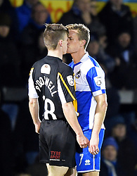 Bristol Rovers' Lee Mansell 'scores' with Gateshead's JJ O'Donnell - Photo mandatory by-line: Paul Knight/JMP - Mobile: 07966 386802 - 19/12/2014 - SPORT - Football - Bristol - The Memorial Stadium - Bristol Rovers v Gateshead - Vanarama Conference