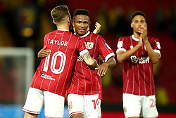 Niclas Eliasson and Matty Taylor of Bristol City celebrate the 3-2 victory over Watford - Mandatory by-line: Robbie Stephenson/JMP - 22/08/2017 - FOOTBALL - Vicarage Road - Watford, England - Watford v Bristol City - Carabao Cup