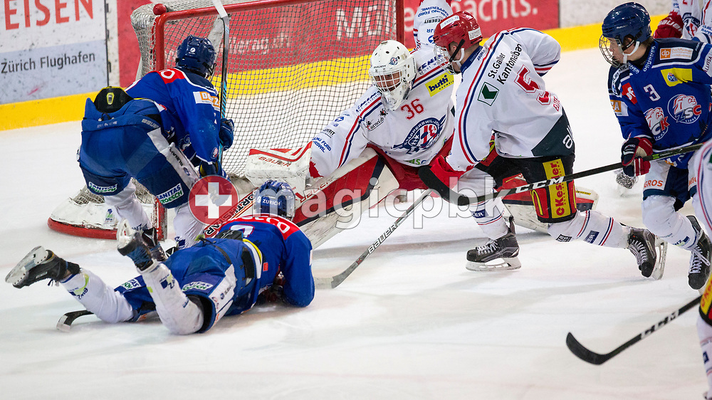 ZSC Lions forward Axel Lukaszek do Carmo (L) scores to the score of 2-1 against Rapperswil-Jona Lakers goaltender Beat Trudel (C) and defenseman Janis Manser (C-R) during the fourth Elite B Playoff Final ice hockey game between ZSC Lions and Rapperswil-Jona Lakers in Duebendorf, Switzerland, Friday, Mar. 17, 2017. (Photo by Patrick B. Kraemer / MAGICPBK)