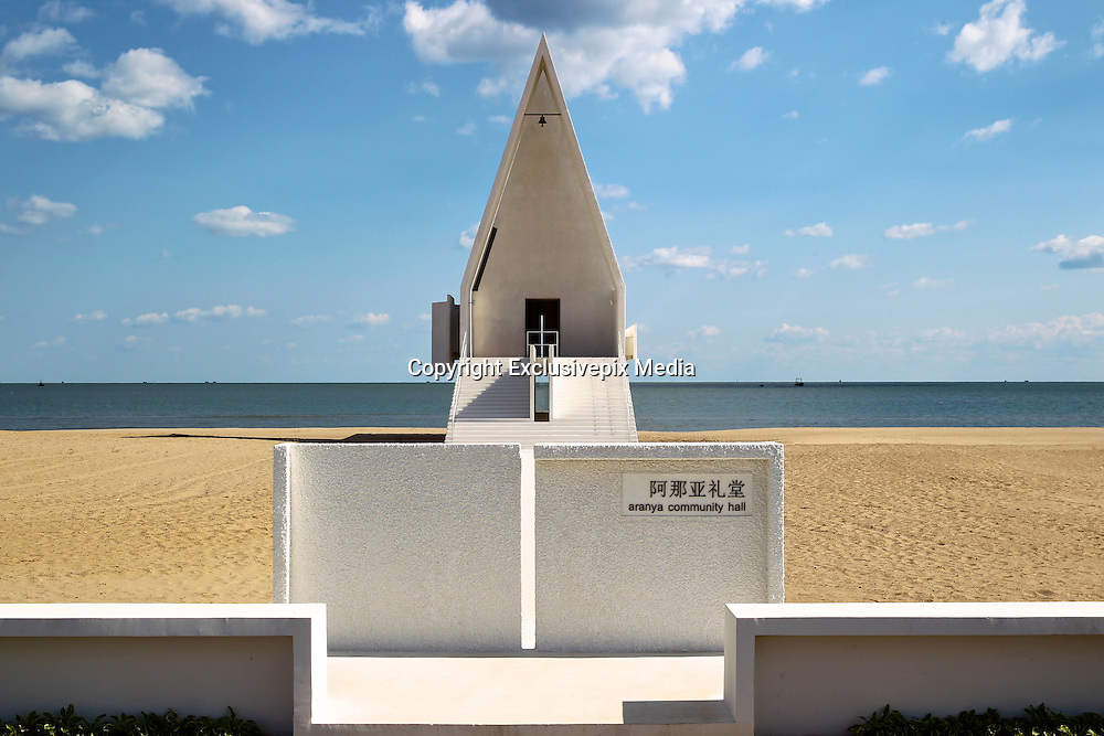 QINHUANGDAO, CHINA - OCTOBER 24: (CHINA OUT)<br /> <br />  Inner view of the Aranya Community Hall on the beach at Beidaihe New District on in Qinhuangdao, Hebei Province of China.<br /> &copy;Exclusivepix Media