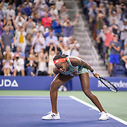 2019 US Open Tennis Tournament- Day Four.  Coco Gauff of the United States celebrates her victory against Timea Babos of Hungary in the Women's Singles Round Two match on Louis Armstrong Stadium at the 2019 US Open Tennis Tournament at the USTA Billie Jean King National Tennis Center on August 29th, 2019 in Flushing, Queens, New York City.  (Photo by Tim Clayton/Corbis via Getty Images)