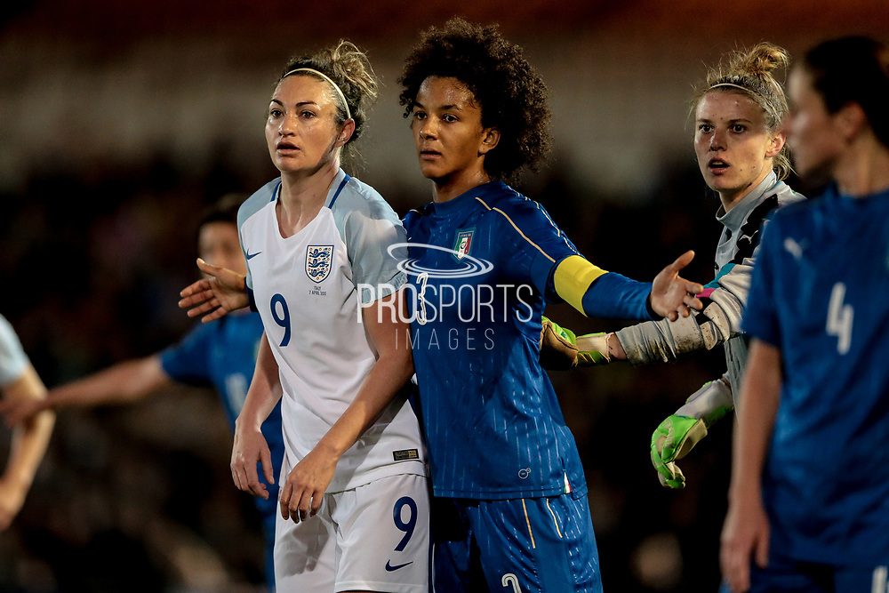 Goal scorer Jodie Taylor (England) (Arsenal) marked by Sara Gama (Captain) (Italy) (Brescia) during the Women's International Friendly match between England Ladies and Italy Women at Vale Park, Burslem, England on 7 April 2017. Photo by Mark P Doherty.