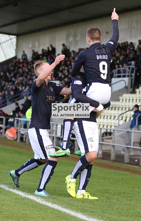 Players flock to celebrate with Baird during the Dumbarton FC  v Falkirk FC Scottish Championship 24 October 2015 <br /> <br /> (c) Andy Scott | SportPix.org.uk