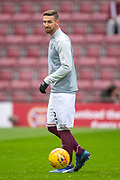 New signing David Vanecek (#32) of Heart of Midlothian FC warms up before the 4th round of the William Hill Scottish Cup match between Heart of Midlothian and Livingston at Tynecastle Stadium, Edinburgh, Scotland on 20 January 2019.