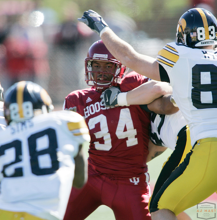 14 October 2006: Indiana linebacker William Patterson (34)  as the Indiana Hoosiers beat the Iowa Hawkeyes 31-28 in college football in Bloomington, Ind.