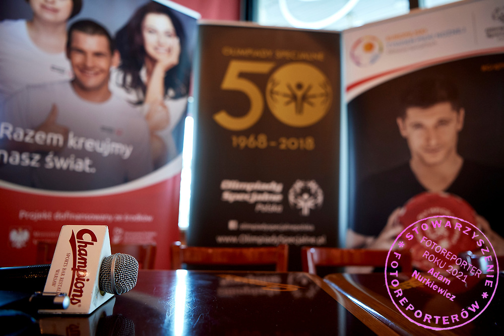 Warsaw, Poland - 2018 May 10: Special Olympics Press Conference at Marriott Champions Sport Bar on May 10, 2018 in Warsaw, Poland.<br /> <br /> Adam Nurkiewicz declares that he has no rights to the image of people at the photographs of his authorship.<br /> <br /> Picture also available in RAW (NEF) or TIFF format on special request.<br /> <br /> Any editorial, commercial or promotional use requires written permission from the author of image.<br /> <br /> Image can be used in the press when the method of use and the signature does not hurt people on the picture.<br /> <br /> Mandatory credit:<br /> Photo by &copy; Adam Nurkiewicz / Mediasport