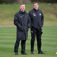 St Johnstone boss Steve Lomas and assistant Tommy Wright pictured watching training at McDiarmid Park ahead of tomorrow's game at Celtic..<br /> Picture by Graeme Hart.<br /> Copyright Perthshire Picture Agency<br /> Tel: 01738 623350  Mobile: 07990 594431