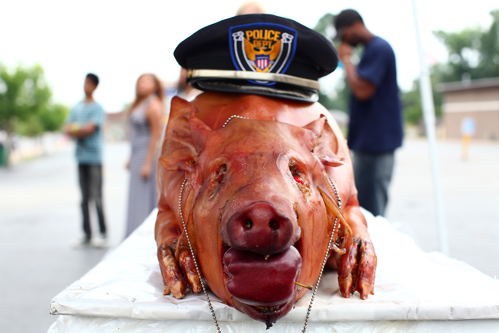 """Demonstrators display a whole roasted pig in front of the Ferguson Police Department. Protestors shout from across the street, """"We finally caught Darren Wilson"""". Sunday marks the one year anniversary of the death of Mike Brown Jr., killed by Officer Darren Wilson in Ferguson."""