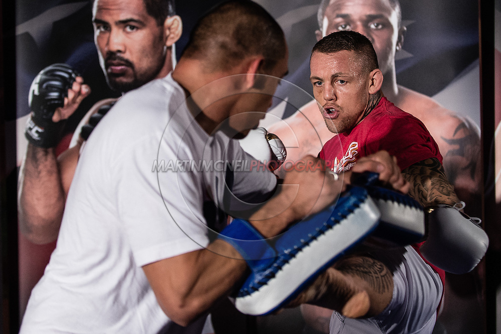 """MANCHESTER, ENGLAND, NOVEMBER 23, 2013: Ross Pearson is pictured at the media open work-out sessions for """"UFC Fight Night 30: Machida vs. Munoz"""" inside Bierkeller Shooter's Sports Bar in The Printworks, Manchester (Martin McNeil for ESPN)"""