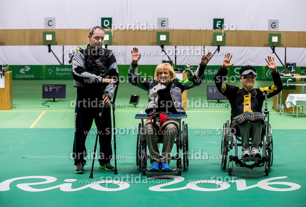 Second placed Francek Gorazd Tirsek - Nani of Slovenia, Winner Veselka Pevec of Slovenia and third placed Geunscoo Kim of Korea celebrate after the Final of R4 - Mixed 10m Air Rifle Standing SH2 on day 3 during the Rio 2016 Summer Paralympics Games on September 10, 2016 in Olympic Shooting Centre, Rio de Janeiro, Brazil. Photo by Vid Ponikvar / Sportida