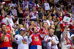 Fans of Czech republic during ice-hockey match between Germany and Czech republic of Group E in Qualifying Round of IIHF 2011 World Championship Slovakia, on May 9, 2011 in Orange Arena, Bratislava, Slovakia. Czech republic defeated Germany 5-2. (Photo By Vid Ponikvar / Sportida.com)