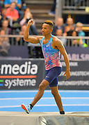 Raphael Holzdeppe (GER) celebrates after winning the pole vault at 19-3½ (5.88m) in the 34th Indoor Meeting Karlsruhen in an IAAF World Tour competition at the Messe Karlsruhe on Saturday, Feb. 3, 2018 in Karlsruhe, Germany. (Jiro Mochizuki/Image of Sport)