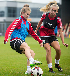 NEWPORT, WALES - Monday, September 19, 2016: Wales' Bronwen Thomas and Charlie Estcourt warm up ahead of the UEFA Women's Euro 2017 Qualifying Group 8 match at Rodney Parade. (Pic by Laura Malkin/Propaganda)