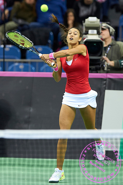 Vitalia Diatchenko from Russia in action during Second Day of the Fed Cup / World Group 1st round tennis match between Poland and Russia at Tauron Krakow Arena on February 8, 2015 in Cracow, Poland.<br /> <br /> Poland, Cracow, February 8, 2015<br /> <br /> Picture also available in RAW (NEF) or TIFF format on special request.<br /> <br /> For editorial use only. Any commercial or promotional use requires permission.<br /> <br /> Adam Nurkiewicz declares that he has no rights to the image of people at the photographs of his authorship.<br /> <br /> Mandatory credit:<br /> Photo by &copy; Adam Nurkiewicz / Mediasport