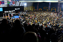 Students, voters pack the gym during a September, 28, 2016 Clinton/Kaine Voter Registration Rally with First Lady Michelle Obama, at LaSalle University, in Philadelphia, Pennsylvania.