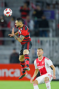 Flamengo defender Rodinei (2) got airborne for a ball during a Florida Cup match against Ajax Amsterdam at Orlando City Stadium on Jan. 10, 2019 in Orlando, Florida. <br /> <br /> ©2019 Scott A. Miller