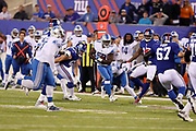 Detroit Lions middle linebacker Tahir Whitehead (59) is chased by defenders as he returns a second quarter interception to the New York Giants 29 yard line in the second quarter during the 2017 NFL week 2 regular season football game against the against the New York Giants, Monday, Sept. 18, 2017 in East Rutherford, N.J. The Lions won the game 24-10. (©Paul Anthony Spinelli)