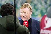 Netherlands manager Ronald Koeman being interviewed on TV ahead of the UEFA European 2020 Qualifier match between Northern Ireland and Netherlands at National Football Stadium, Windsor Park, Northern Ireland on 16 November 2019.