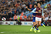 Aston Villa midfielder Jack Grealish (10) clears the ball during the Premier League match between Aston Villa and Everton at Villa Park, Birmingham, England on 23 August 2019.