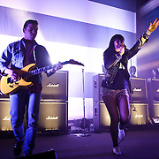 WASHINGTON, DC - March 27th, 2012 - Derek E. Miller and Alexis Krauss of indie-rock duo Sleigh Bells perform at the 9:30 Club in Washington, D.C. The duo's second full length album, Reign of Terror, was released in February and debuted at number 12 on the Billboard Hot 200. (Photo by Kyle Gustafson/For The Washington Post)