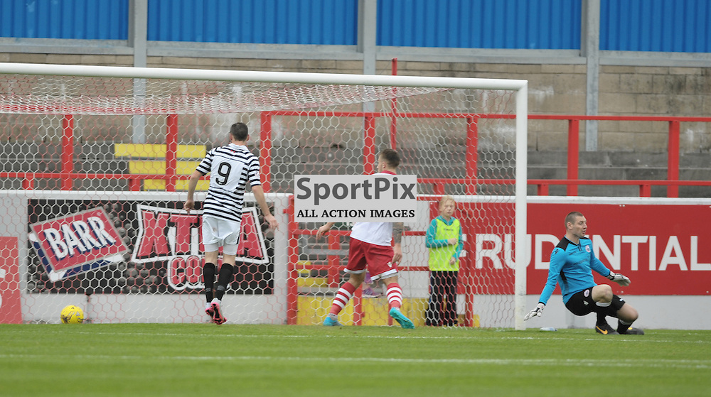 Anthony Ralston (Queen's Park, 2, black &amp; white, out of picture) scores to make it 1:2<br /> <br /> Stirling Albion v Queen's Park, SPFL League 2, 26th September 2015<br /> <br /> (c) Alex Todd | SportPix.org.uk