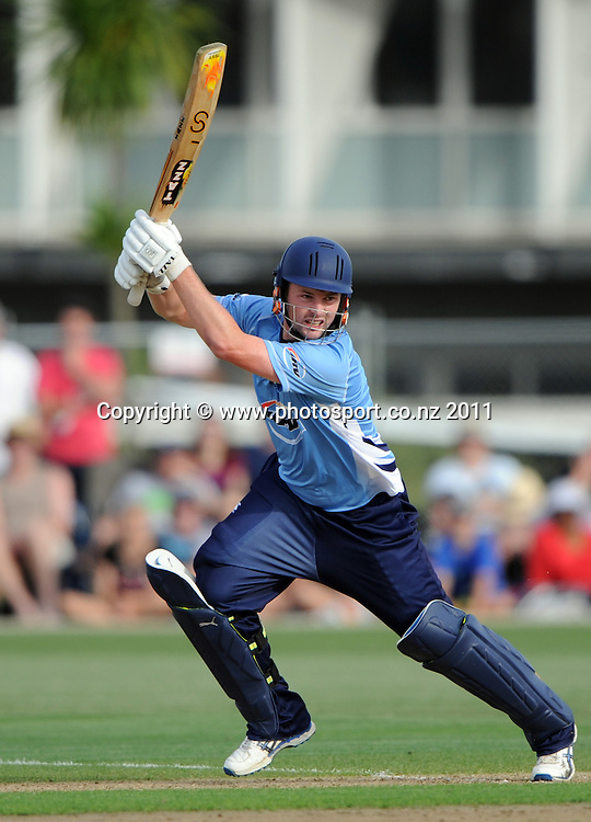 Auckland's Colin Munro batting during the HRV Twenty20 Cricket match between the Auckland Aces and Otago Volts at Colin Maiden Oval in Auckland, New Zealand on Friday 6 January 2012. Photo: Andrew Cornaga/Photosport.co.nz