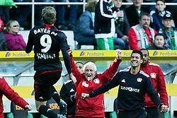 15.10.2011,  BorussiaPark, Mönchengladbach, GER, 1.FBL, Borussia Mönchengladbach vs Bayer 04 Leverkusen, im Bild.Torjubel / Jubel  nach dem 2:2 durch Andre Schürrle (Leverkusen #9). Michael Ballack (Leverkusen #13) (R) lächelt..// during the 1.FBL, Borussia Mönchengladbach vs Bayer 04 Leverkusen on 2011/10/13, BorussiaPark, Mönchengladbach, Germany. EXPA Pictures © 2011, PhotoCredit: EXPA/ nph/  Mueller *** Local Caption ***       ****** out of GER / CRO  / BEL ******
