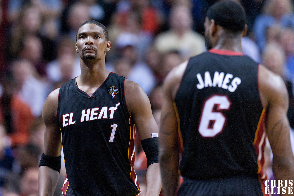 10 March 2011: Miami Heat power forward Chris Bosh (1) enters the game during the Miami Heat 94-88 victory over the Los Angeles Lakers at the AmericanAirlines Arena, Miami, Florida, USA.