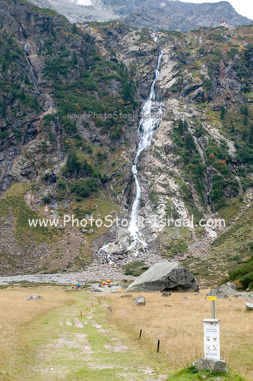 Glacial waterfall, Sulzenau, Stubai, Tyrol, Austria