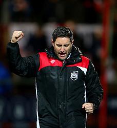 Bristol City head coach Lee Johnson celebrates at full time - Mandatory by-line: Matt McNulty/JMP - 17/01/2017 - FOOTBALL - Highbury Stadium - Fleetwood,  - Fleetwood Town v Bristol City - Emirates FA Cup Third Round Replay