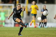 Rosie White shoots from long range during the Cup of Nations Women's Football match, New Zealand Football Ferns v Matildas, Leichhardt Oval, Thursday 28th Feb 2019. Copyright Photo: David Neilson / www.photosport.nz