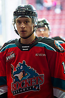 KELOWNA, BC - DECEMBER 18: Elias Carmichael #14 of the Kelowna Rockets exits the ice after warm up against the Vancouver Giants  at Prospera Place on December 18, 2019 in Kelowna, Canada. (Photo by Marissa Baecker/Shoot the Breeze)