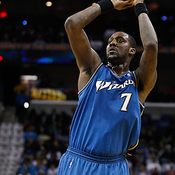 February 1, 2011; New Orleans, LA, USA; Washington Wizards power forward Andray Blatche (7) against the New Orleans Hornets during the second half at the New Orleans Arena. The Hornets defeated the Wizards 97-89.  Mandatory Credit: Derick E. Hingle