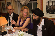 MARC QUINN; GILLIAN ANDERSON; WARIS AHLUWALIA, Charles Finch and  Jay Jopling host dinner in celebration of Frieze Art Fair at the Birley Group's Harry's Bar. London. 10 October 2012.