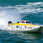 zz411q, warms up round the course, Outboard Engine Class, Offshore Superboat Championships, Coffs Harbour, New South Wales, Australia
