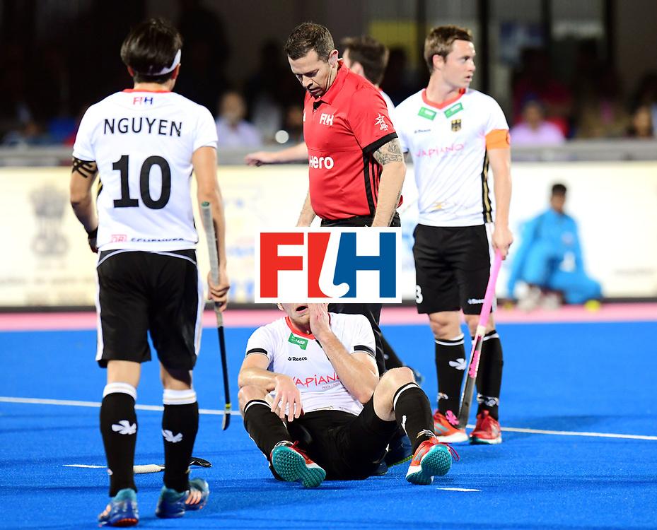 Odisha Men's Hockey World League Final Bhubaneswar 2017<br /> Match id:20<br /> Australia v Germany<br /> Foto: Umpire Martin Madden and Niklas Bruns (Ger) <br /> COPYRIGHT WORLDSPORTPICS FRANK UIJLENBROEK